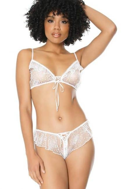 Coquette Adore You White Tulle Bralette with Boyshort