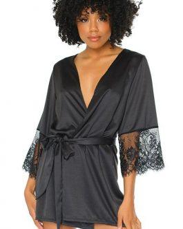 Coquette Nightshade Black Satin Robe