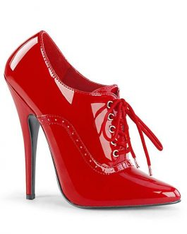 Devious Domina 6″ Red Oxford Lace-Up Pump