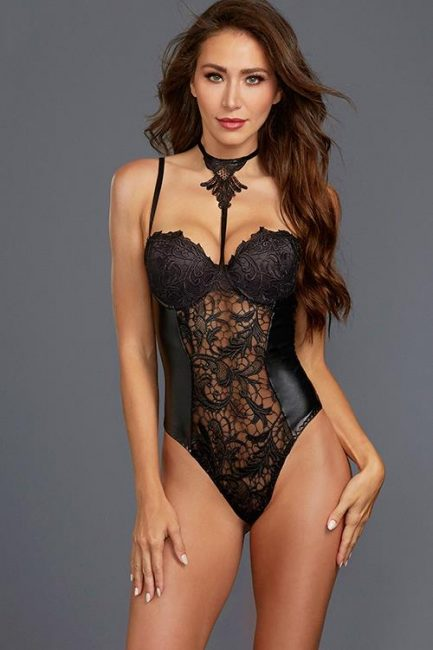 Dreamgirl All Night Long Collared Wet-Look & Lace Bodysuit