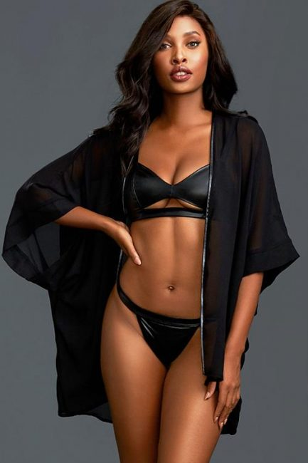 Dreamgirl All Night Long Wet-Look Bra With Robe & Thong