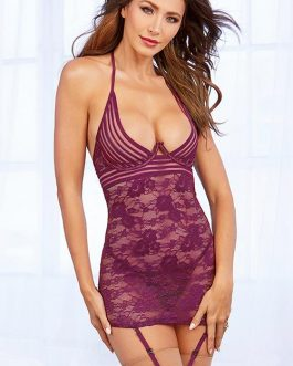 Dreamgirl Late Delights Gartered Chemise with G-String