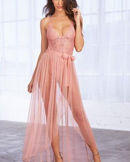 Dreamgirl Pastel Charms Lace Teddy with Maxi Skirt