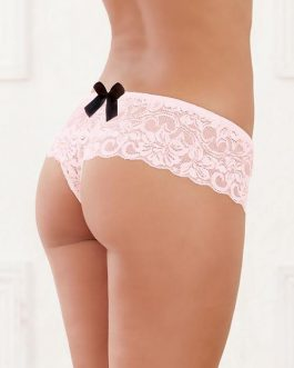 Dreamgirl Pink Lace Crotchless Boyshort