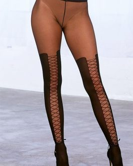 Dreamgirl Sheer Black Lace-Up Look Stockings