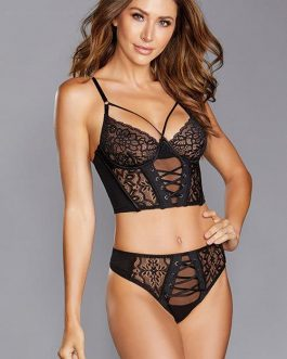 Dreamgirl Take Control Longline Lace Bra with Thong