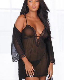 Dreamgirl Timeless Sheer Mesh Chemise with Robe & G-String