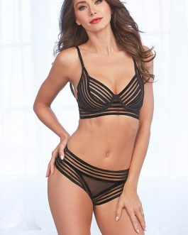 Dreamgirl Timeless Striped Mesh Bra with Thong