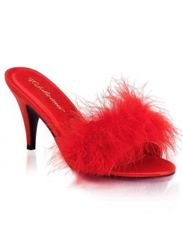 Fabulicious by Pleaser Amour 3″ Heel Red Marabou Puff Slippers