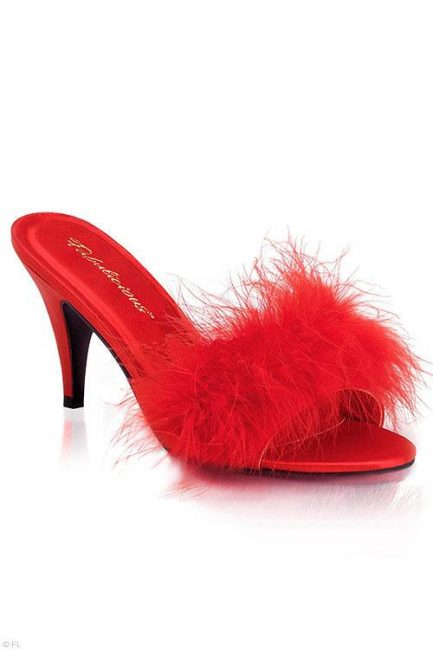 """Fabulicious by Pleaser Amour 3"""" Heel Red Marabou Puff Slippers"""