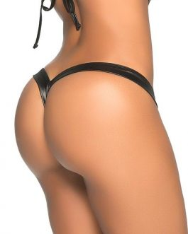 Mapale by Espiral Hot Mix Slinky Black Wet-Look Thong
