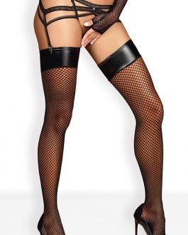 Obsessive Soraya Fishnet Thigh Highs with Wet-Look Tops