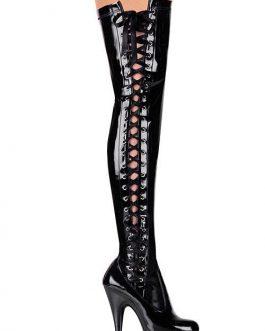 Pleaser 6 Heel Black Patent Thigh High Boots