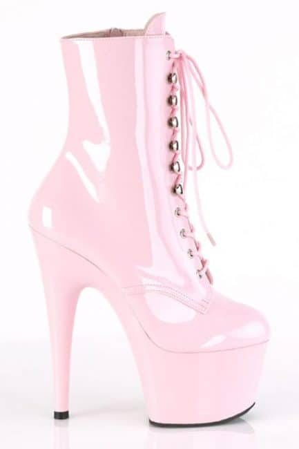 Pleaser Adore 7 Heel Pink Patent Platform Ankle Boot