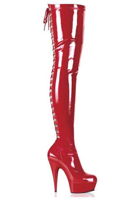 Pleaser Delight 6 Heel Red Patent Thigh High Boots