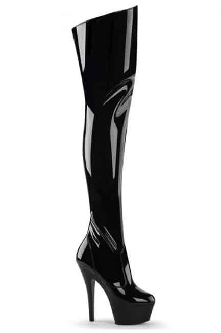 """Pleaser Kiss 6"""" Heel Patent Thigh High Platform Boot"""