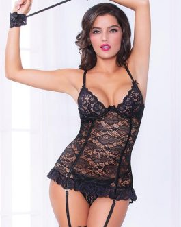 Seven Til Midnight Play For Keeps Gartered Bustier with G-String & Handcuffs
