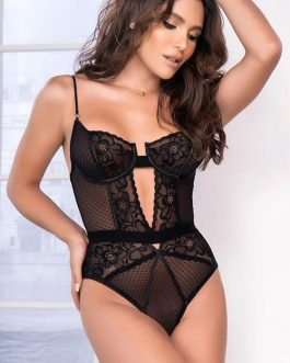 Mapale by Espiral Delicate Desires Floral Lace & Mesh Teddy