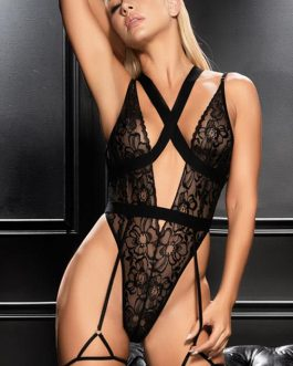 Mapale by Espiral Femme Fatale Crotchless Bodysuit with Garter Belt