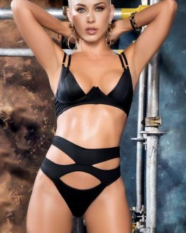 Mapale by Espiral Urban Temptress Wet-Look Bra with Cut-Out Thong