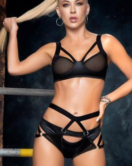 Mapale by Espiral Urban Temptress Wet-Look Bra with Harness & Thong