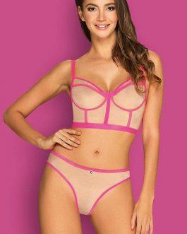 Obsessive Nudelia Nude & Pink Longline Bra with Panty