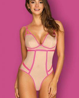 Obsessive Nudelia Nude & Pink Striped Teddy